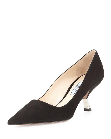 Prada Suede Comma-Heel Pointed-Toe Pump, Black (Nero)