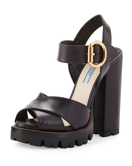 Prada Crisscross Leather Platform Sandal, Black (Nero)