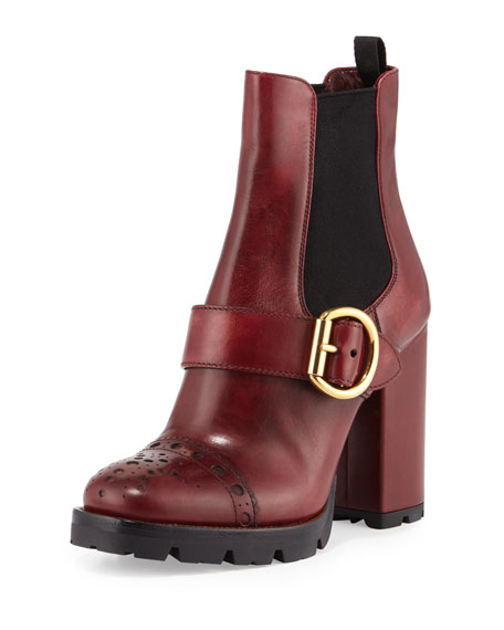 Prada Cap-Toe Leather Chelsea Boot, Amaranto