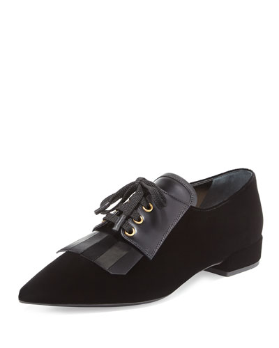 Kiltie Pointed-Toe Oxford, Black (Nero)