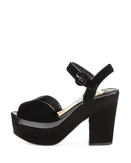 Patent-Trim Velvet Platform Sandal, Black (Nero)