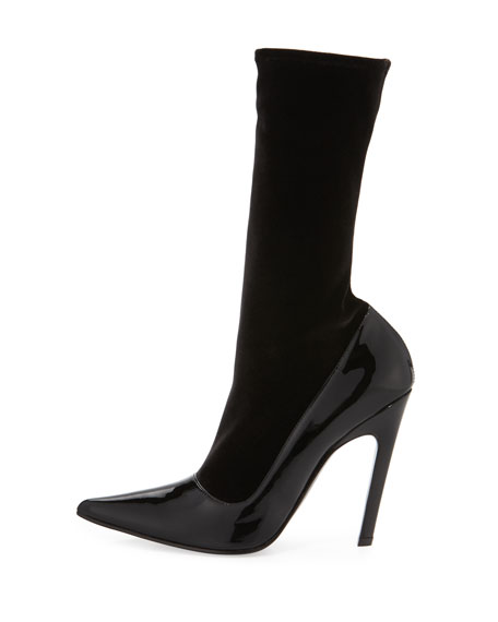 Velvet & Patent Mid-Calf 110mm Boot, Noir