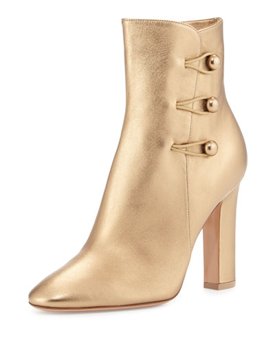 Metallic Button-Loop Ankle Boot, Gold