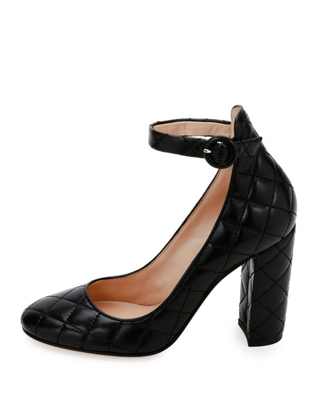Image 3 of 5: Greta Quilted Ankle-Wrap 100mm Pump, Black