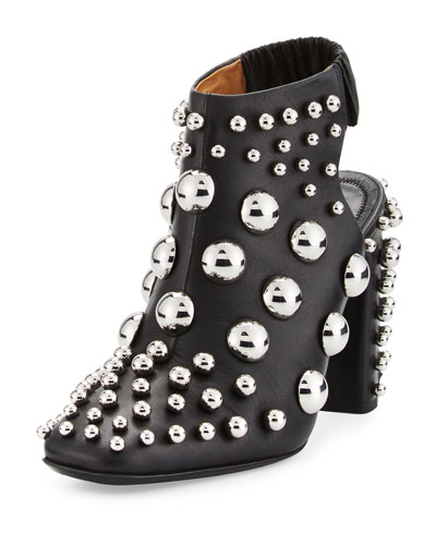 Ellery Studded Open-Toe Bootie, Black
