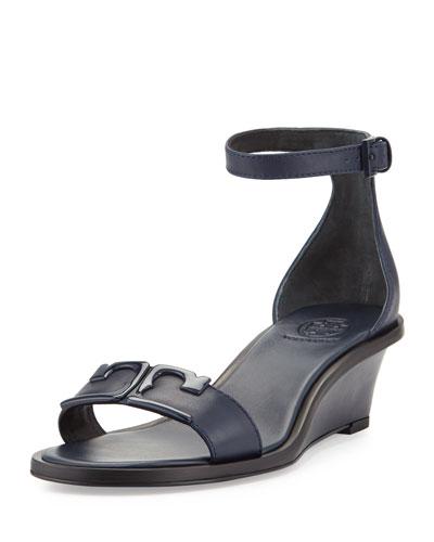 Marcia Leather Demi-Wedge Sandal, Navy
