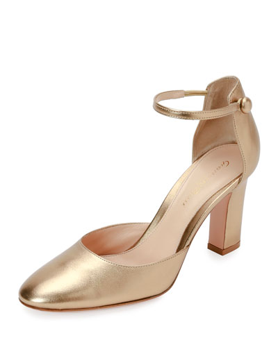 Leather Ankle-Wrap 85mm Pump, Glam
