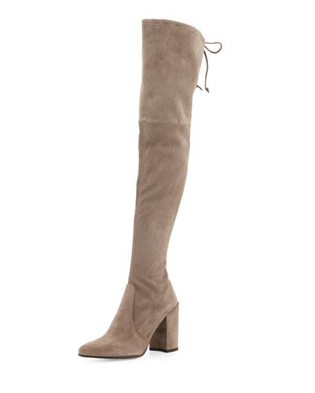 Highstreet Suede Over-The-Knee Boot, Praline