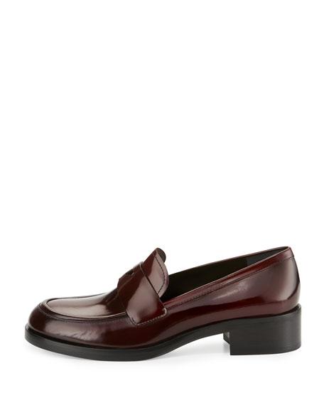 Prada Brushed Leather Penny Loafer, Garnet (Granato)