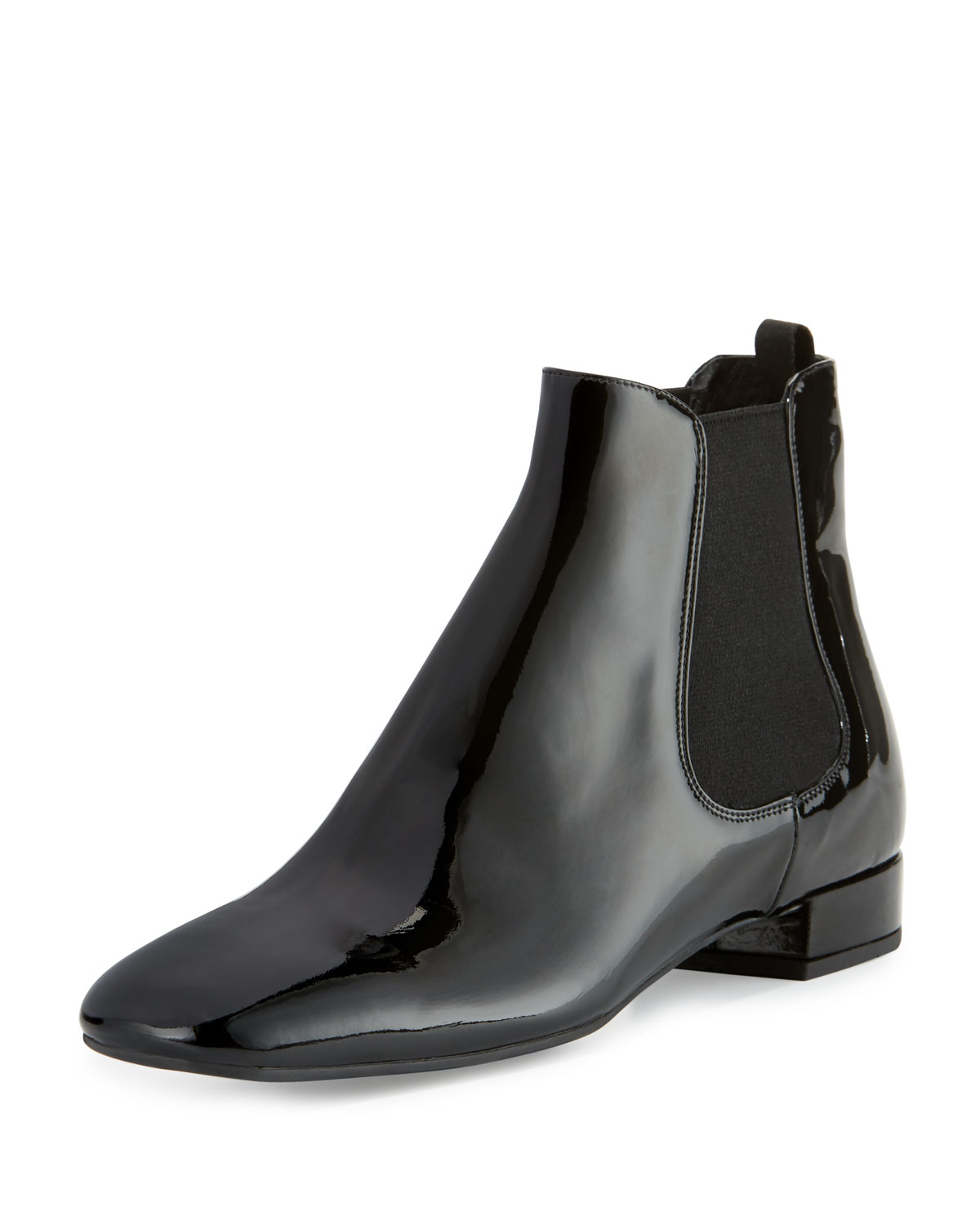 eb495d2aacfe8b Prada Patent Leather 20mm Chelsea Boots, Black (Nero) | Neiman Marcus