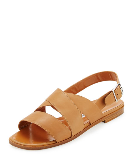 Manolo Blahnik Cuture Leather Flat Sandal, Honey