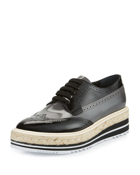 Spazzolato Leather Lace-Up Creeper, Black/Mercury (Nero+Mercurio)
