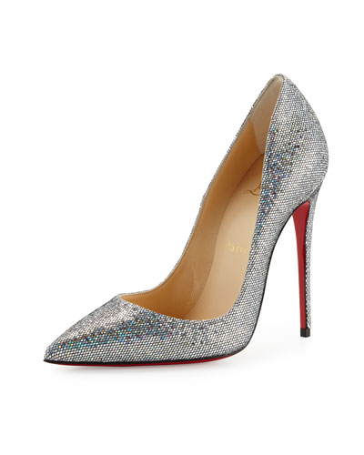 christian louboutin glitter buckle embellished sandals