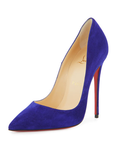 So Kate Suede 120mm Red Sole Pump, Purple