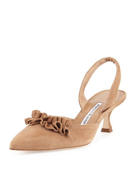 Manolo Blahnik Carolyne Ruffled Low-Heel Halter Pump, Tan