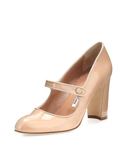 Campy 90mm Mary Jane Pump, Nude