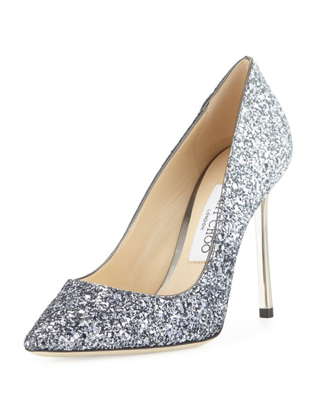 Jimmy Choo Romy Glitter Pointed-Toe 100mm Pumps, Navy/Silver