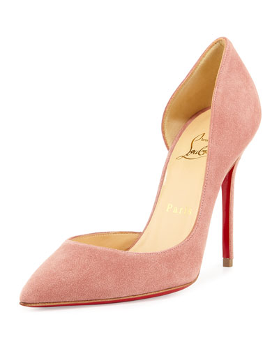 Iriza Half-d'Orsay 100mm Red Sole Pump, Pink