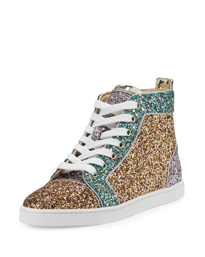 Bip Bip Glitter High-Top Red Sole Sneaker, Multi