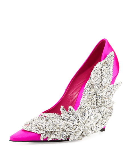 Balenciaga Crystal Satin 110mm Pump, Rose Fuchsia