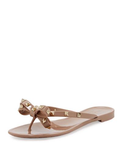 Rockstud PVC Flat Thong Sandal, Metallic Brown