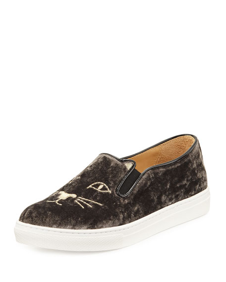 Cool Cats Velvet Slip-On Sneaker, Anthracite