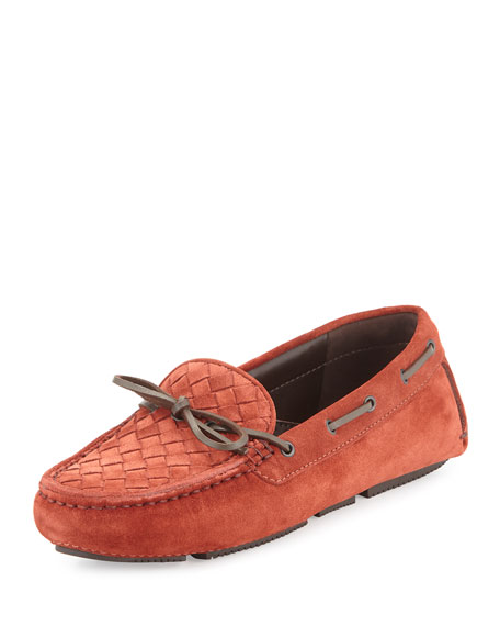 Bottega Veneta Intrecciato Suede Slip-On Driver, Brick