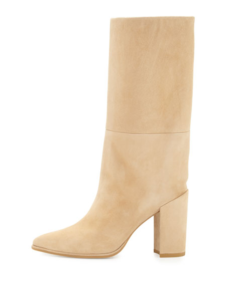 Straighten Pointed-Toe Suede Boot, Skin