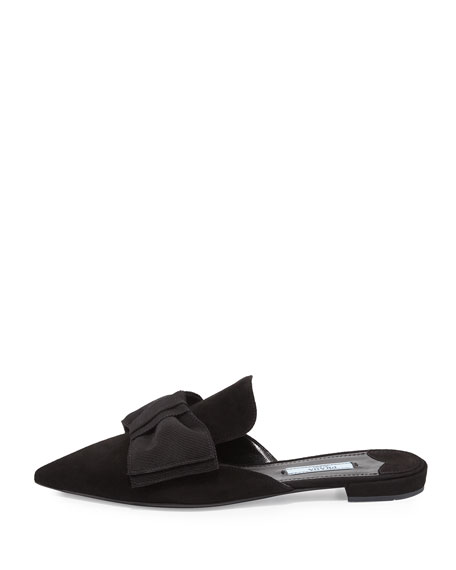 Suede Bow Mule Flat, Black (Nero)