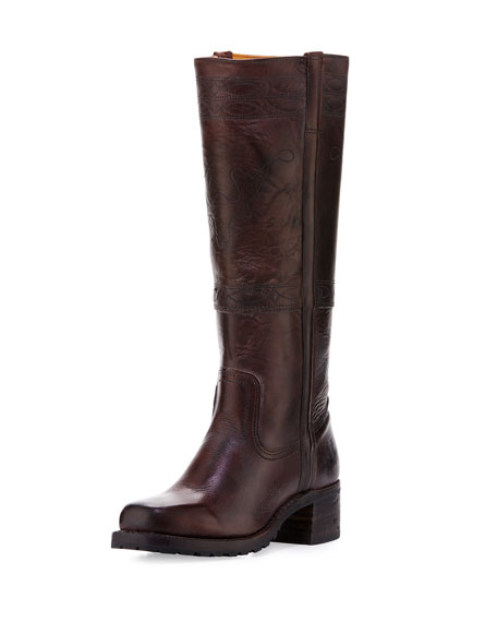 Campus Stitching Horse Knee Boot, Walnut