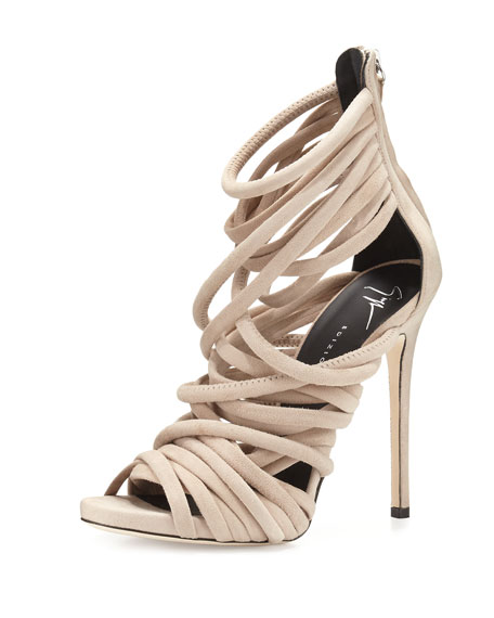 Strappy Suede 110mm Sandals, Blush