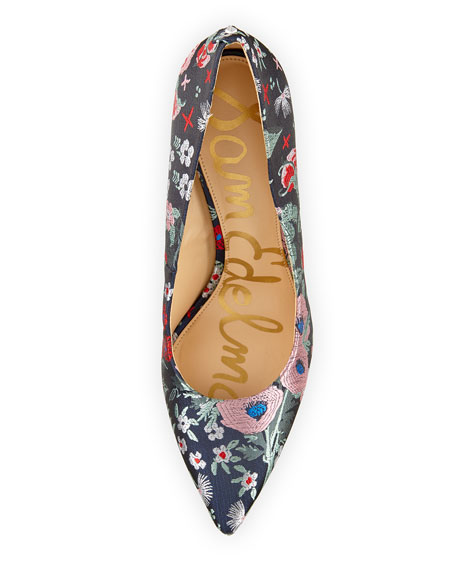 Hazel Pointed-Toe Floral-Jacquard Pump, Gray/Multi
