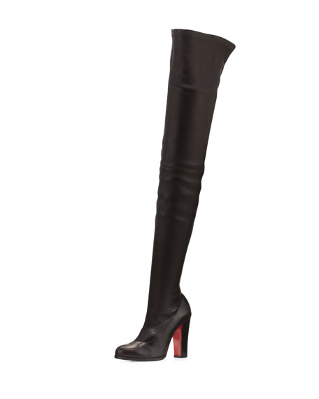Christian Louboutin Verusch Leather 100mm Over-the-Knee Red Sole