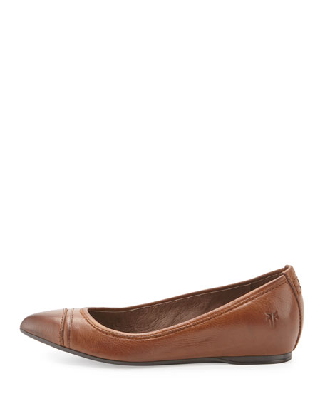 Alicia Leather Ballerina Flat, Cognac
