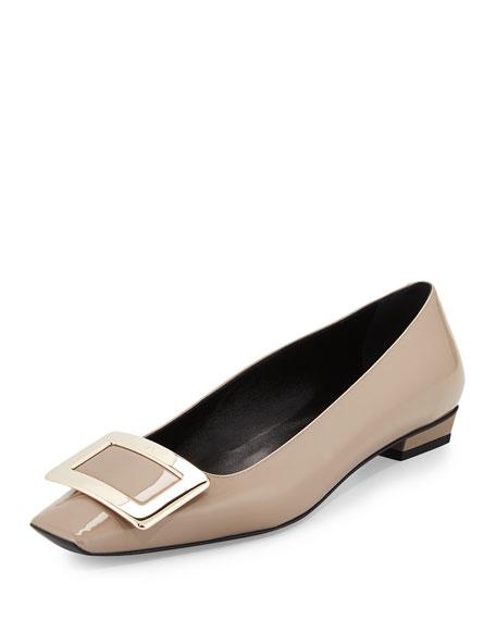 Belle Vivier Patent Ballet Flat, Stone