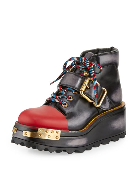 Prada Buckle Leather 60mm Hiking Boot, Black/Scarlet (Nero/Scarlatto)
