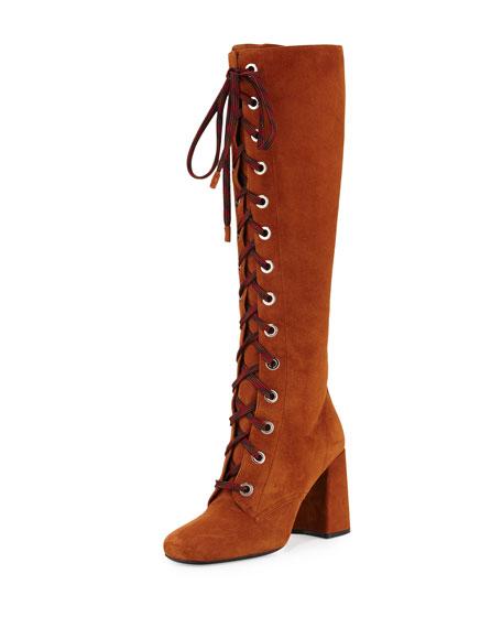 Prada Suede Lace-Up Block-Heel Boot, Palissandro