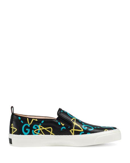 GucciGhost Board Graffiti Skate Sneaker, Nero