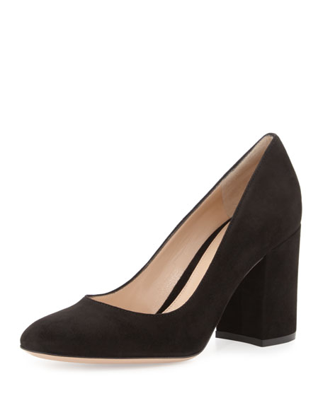 Gianvito Rossi Suede 85mm Chunky-Heel Pump, Black