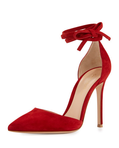 Suede Pointed-Toe Ankle-Wrap Pump, Red
