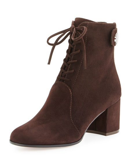 Gianvito Rossi Finlay Mid Suede Lace-Up Bootie, Brown