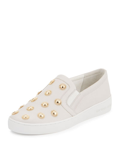 Leo Embellished Leather Slip-On Sneaker, Optic White