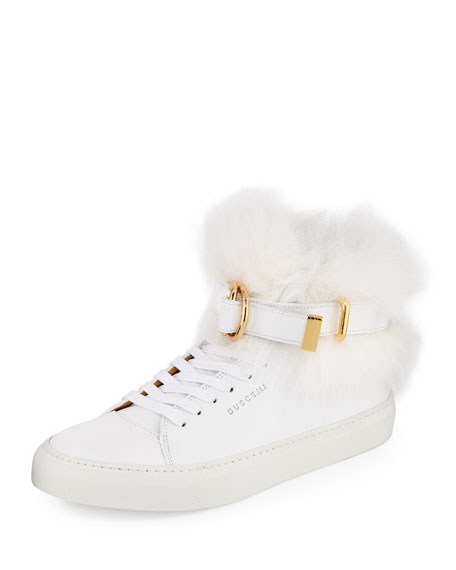 Buscemi Women's 100mm Belted Fur High-Top Sneaker, White