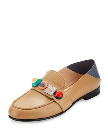 Fendi Rainbow Stud Leather Loafer, Toast/Mirto/Multi