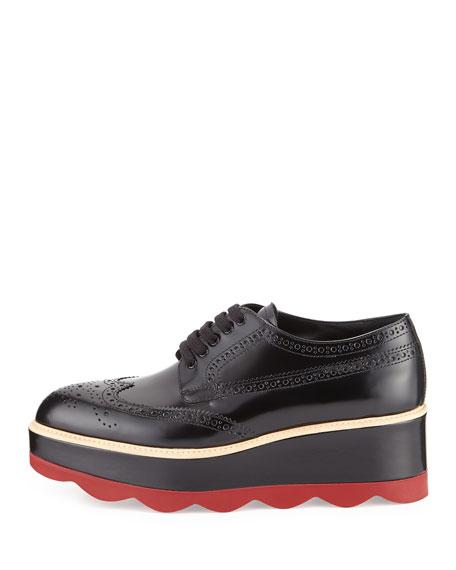 8b91f096b496fa Prada Spazzolato Leather Lace-Up Creeper, Black/Red (Nero+Scarlatto)
