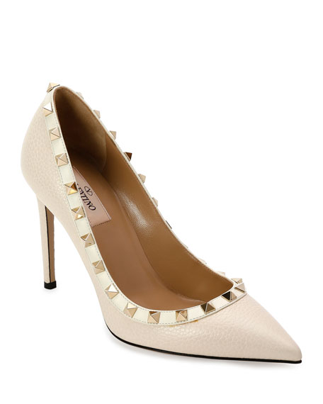 Valentino Garavani Rockstud Leather 100mm Pump, Ivory
