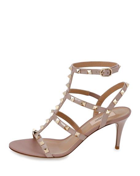 Rockstud Patent 70mm Sandals, Poudre