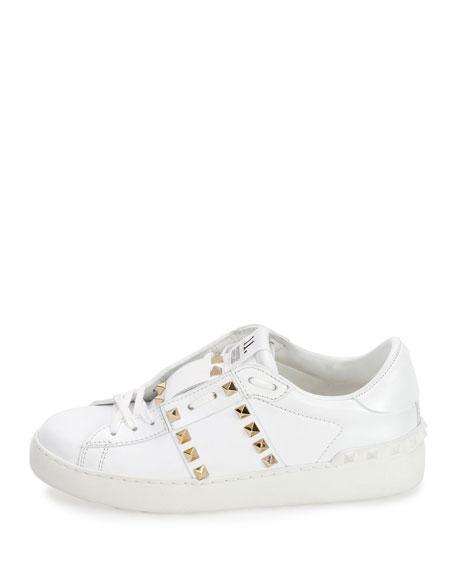 Rockstud Untitled Leather Sneaker, White