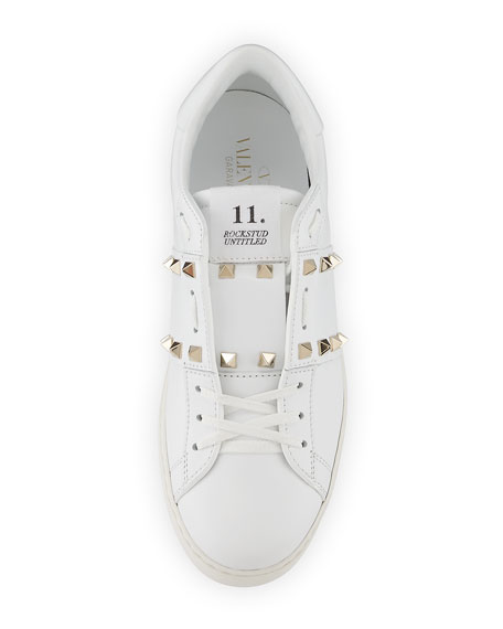 Rockstud Untitled Leather Sneakers, White
