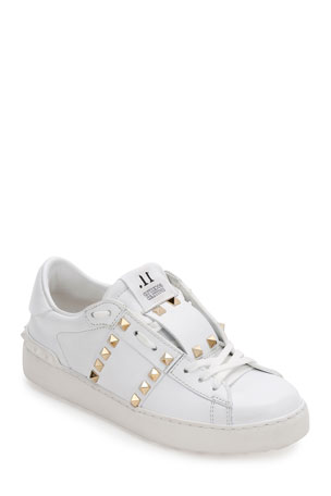 Valentino Garavani Rockstud Untitled Leather Sneakers, White